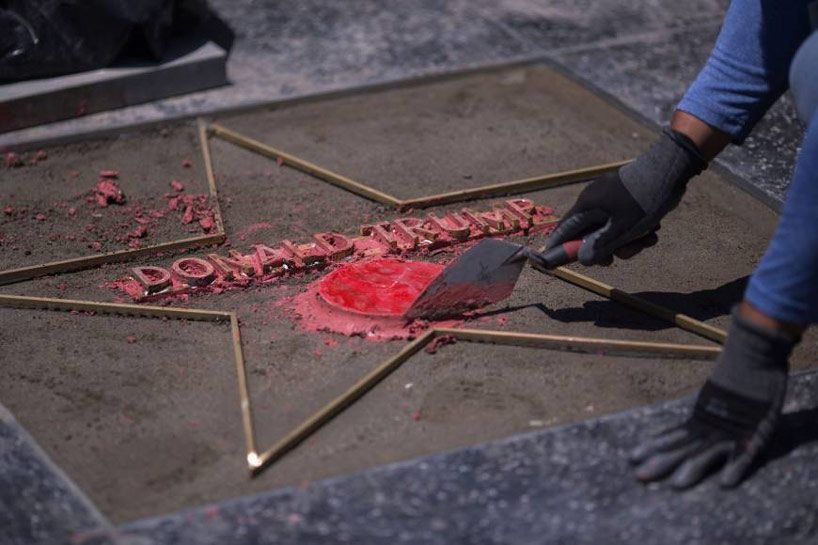 is defacing trump's hollywood walk of fame star the ultimate expression of anti-trump art?