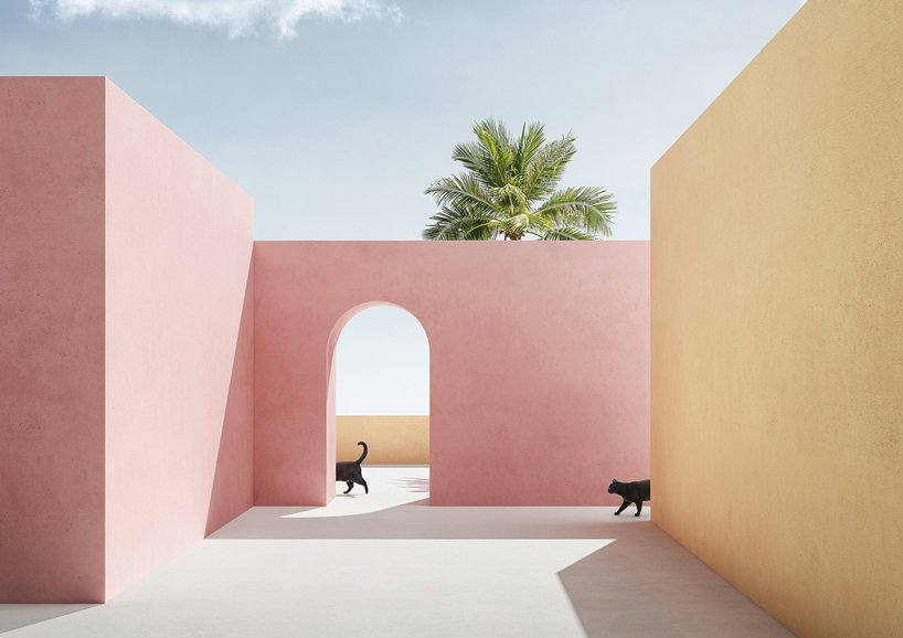massimo colonna renders perfectly surreal open-air architecture in latest digital series
