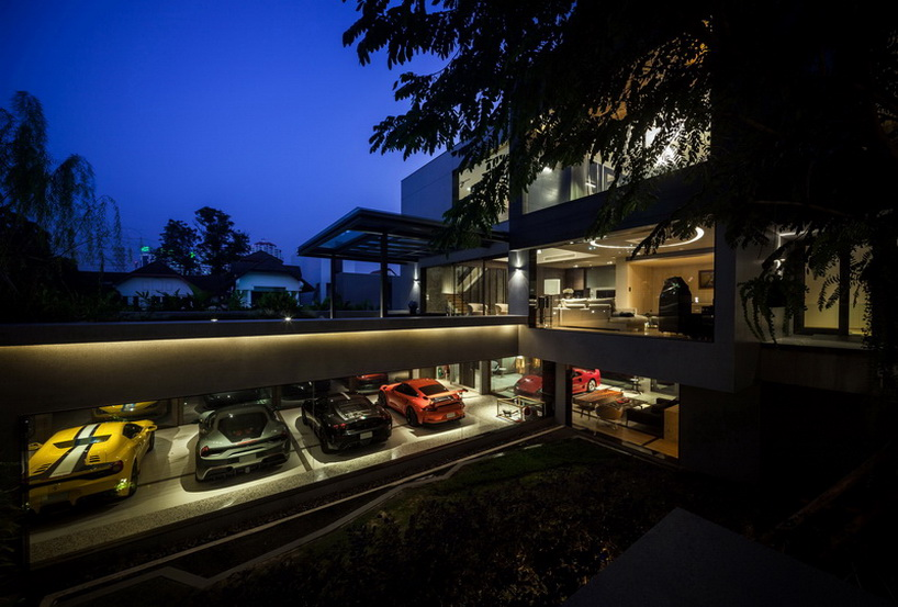 seARCH office completes ultra luxe residence with a gallery of supercars in bangkok designboom