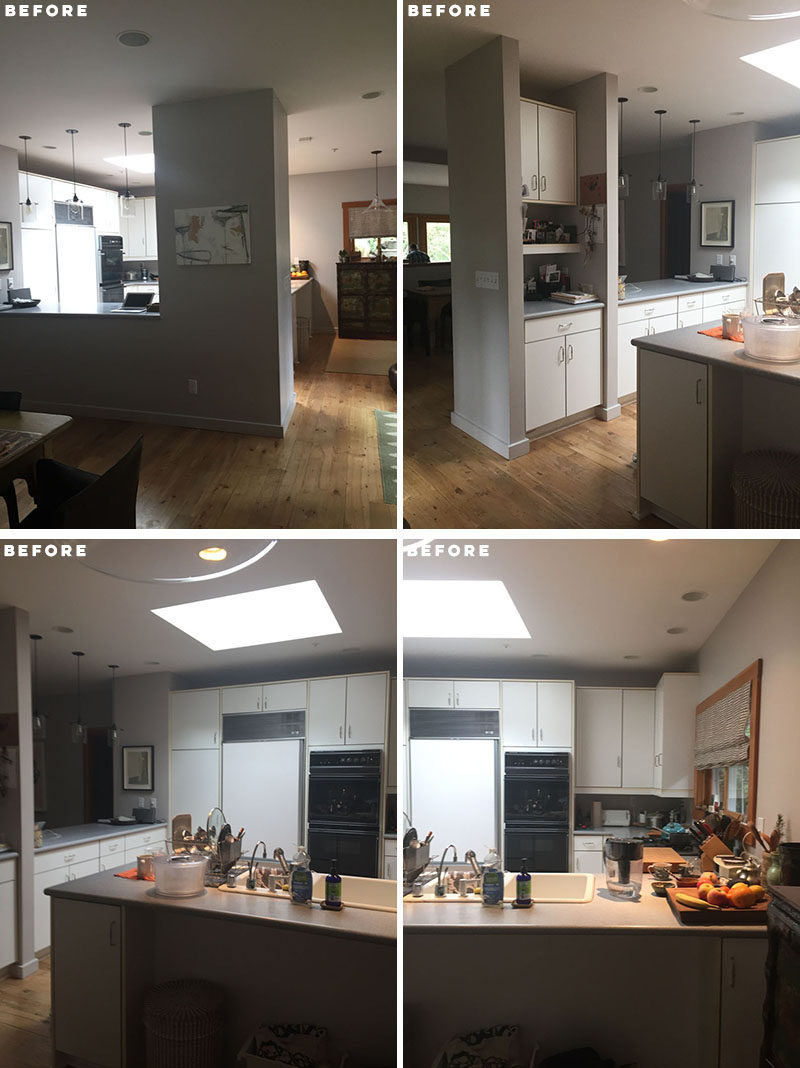 BEFORE PHOTOS - The kitchen before the renovation had a lot of cabinets, creating a heavy and cluttered feeling, and far from the 'open concept' kitchen that the home owner wanted. Click through to see the new and updated kitchen. #KitchenRemodel