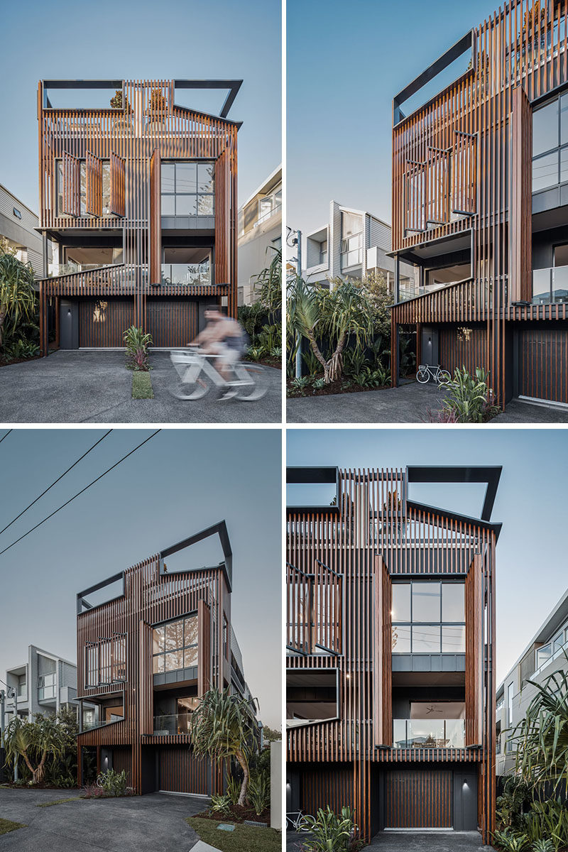 An array of vertical fins have been added to this modern duplex to serve multiple functions including sun-shading, privacy, curation of views, and to modulate the scale of the overall form. #ModernArchitecture #WoodScreens