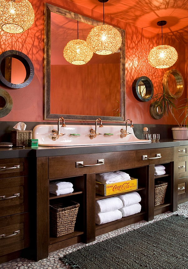 Gorgeous bathroom with lovely lighting uses an old coca cola crate elegantly