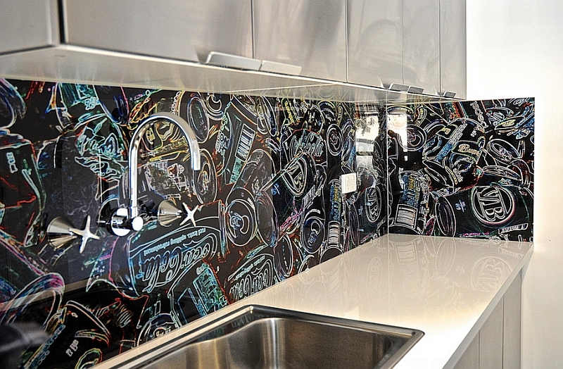 Graffiti style Coca Cola inspired backsplash for the eclectic, modern kitchen