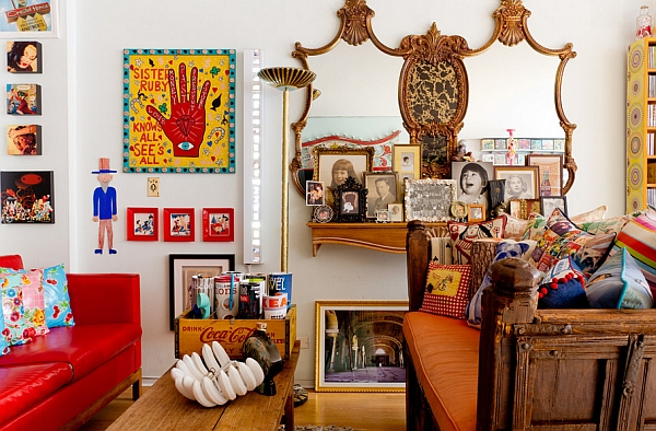 Another look at the DIY Coke crate idea in the eclectic living room
