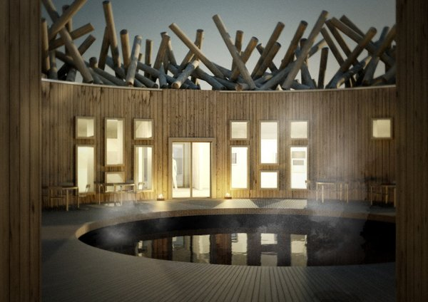 The circular hotel is centered around an enclosed soaking tub, letting guests view the open sky at all times of the year.