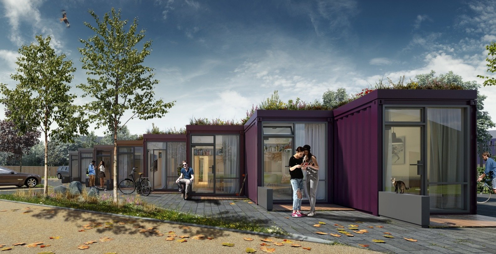 Designed for young, low-income individuals, the green-roofed container homes will be painted a variety of colors to complement local architecture, including the neighboring Serpentine project.