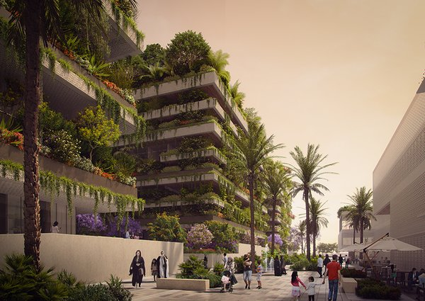The three buildings—a hotel and two residential towers—will host hundreds of plants and trees. The Vertical Forest will act as a giant air filter for the city.