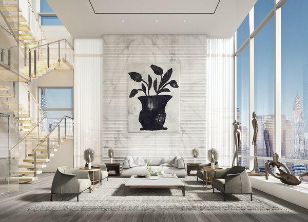 Wall-length windows and 18-to-32-foot-high ceilings effortlessly capture views of the city's skyline, while also ushering in an abundance of natural light.