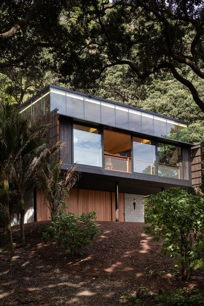 The black, steel-framed residence has a Western red cedar skin brought in from Canada, chosen for its ability to withstand tumultuous environments.