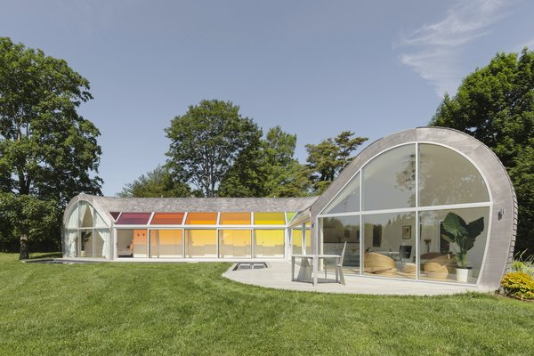 The southern side uses glass for solar gain, as Edwards Anker designed the home using Passive House principles.