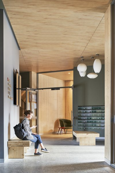 Cross-laminated timber (CLT) benches, an exposed CLT ceiling, and concrete softened with a hint of olive green make the common spaces feel inviting.