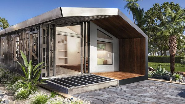 The Tulip model by Steelhomes is a 1-bedroom, 2-bathroom residence with just over 1,000 square feet of living space. Based in Miami, Steelhomes maintains a steel frame factory in Opa Locka and works throughout South Florida.