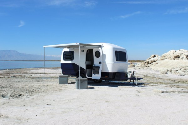 The camper is built with a fiberglass shell that's well insulated, making it equipped for a variety of conditions and climates.