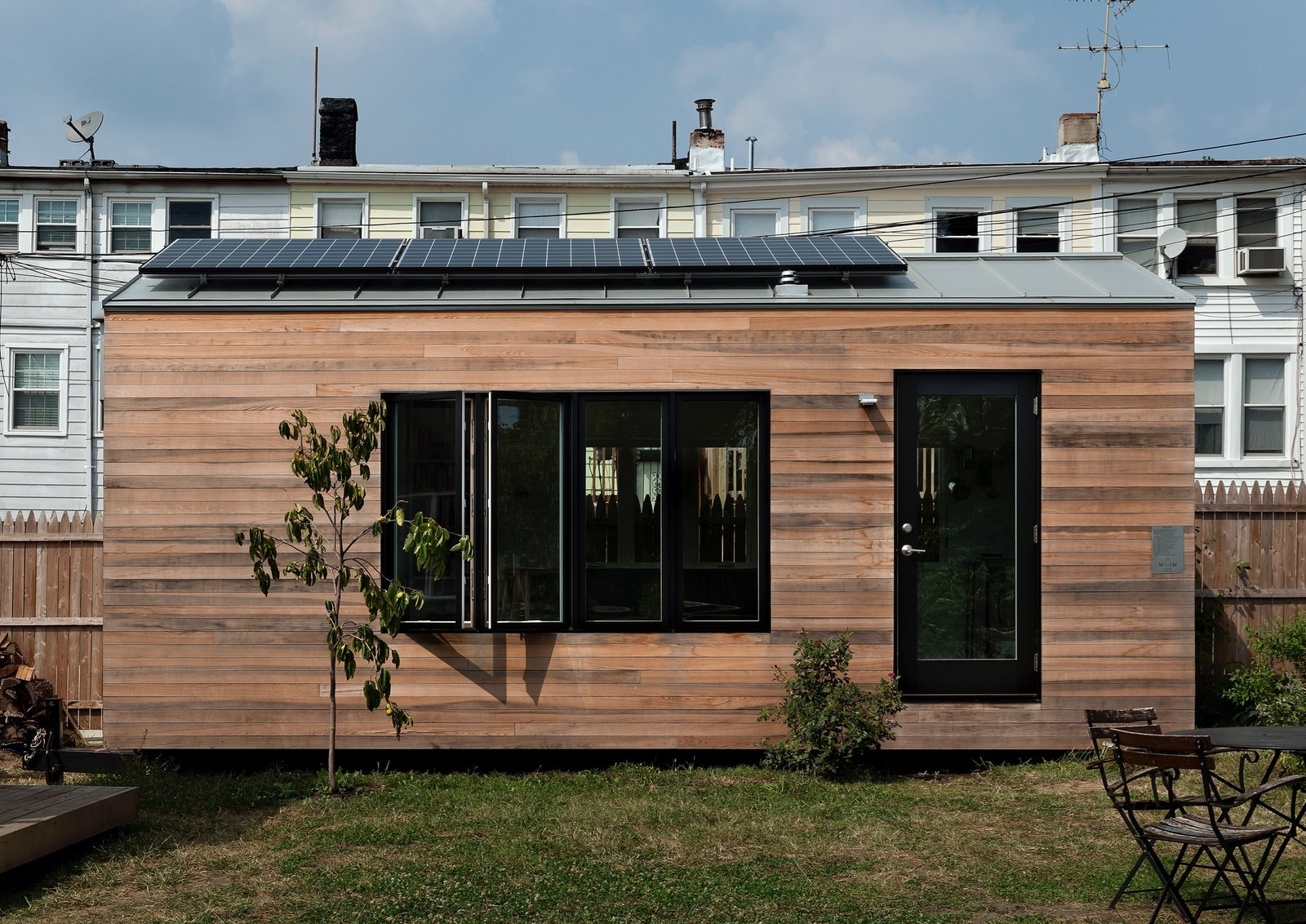 Minim lets you build your own tiny house for $35,000. Their homes are wrapped in shiplapped cypress that will patina and turn a silvery gray tone. A 960-watt solar array on the roof can be battery powered, allowing the home to operate completely off-grid.