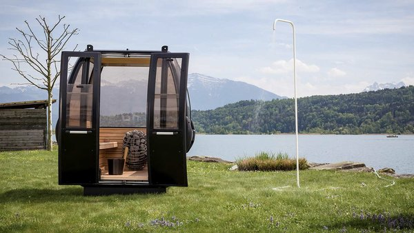 Two Swiss designers breathe new life into retired gondolas by turning them into sleek, customizable saunas. The interiors are gutted, and the exteriors receive a brand-new paint job—in any color of your choice.