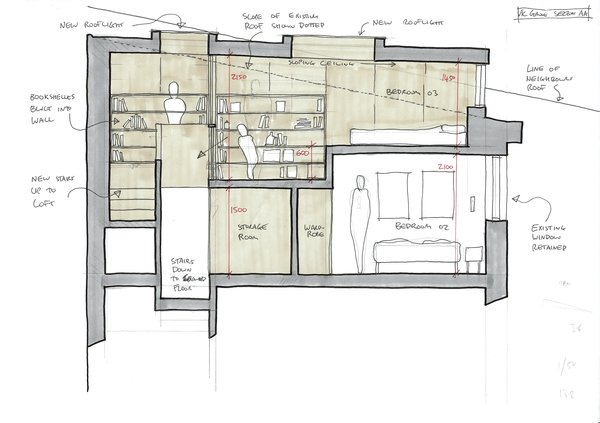A section of Two and a Half Storey House by Bradley Van Der Straeten Architects illustrating how the extension doesn't exceed the highest point of the existing roof, shown as a dotted line.