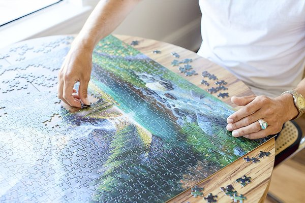 Elk at the Waterfall, our third puzzle, is nearly wrapped.