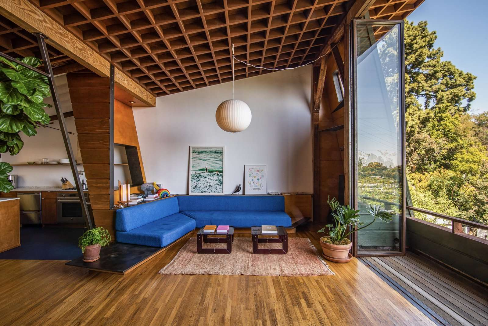 Recognized as Jones' first architectural masterpiece, the structure served as both his personal home and studio. Decades later, the duplex is now being offered as a boutique rental property.
