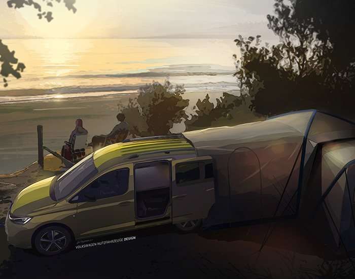 volkswagen mini-camper gets smaller yet bigger with expandable tent