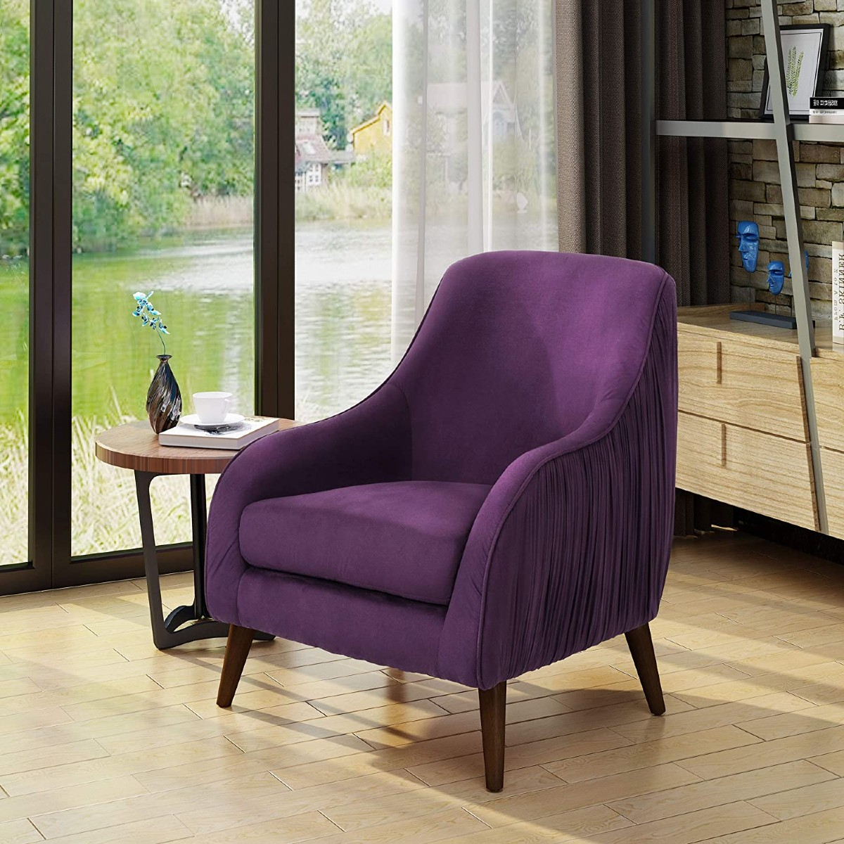 purple velvet chair with wooden furniture