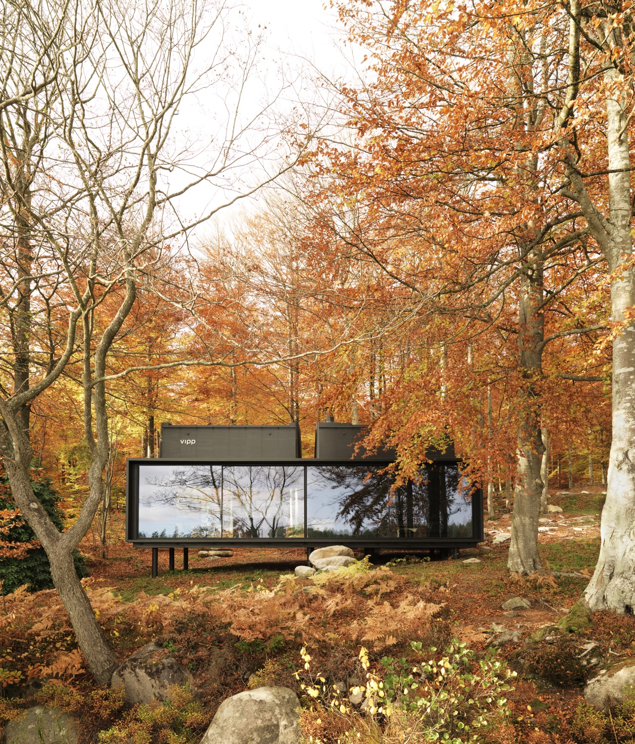 Off the beaten track, deepin the wooded Swedish countryside, liesthe Vipp Shelter. This smart and compact home is the perfectNordic lakeside getaway. Image© 2016 Vipp.