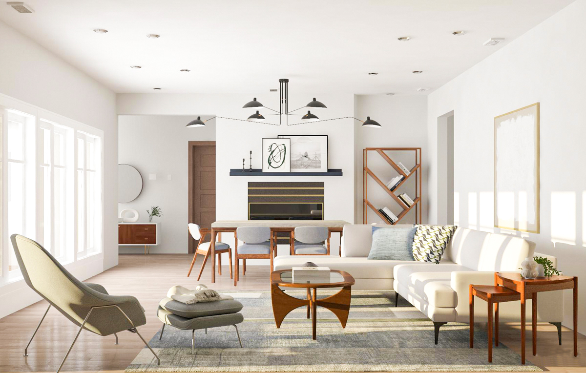 living room with sleek furniture and a variety of materials
