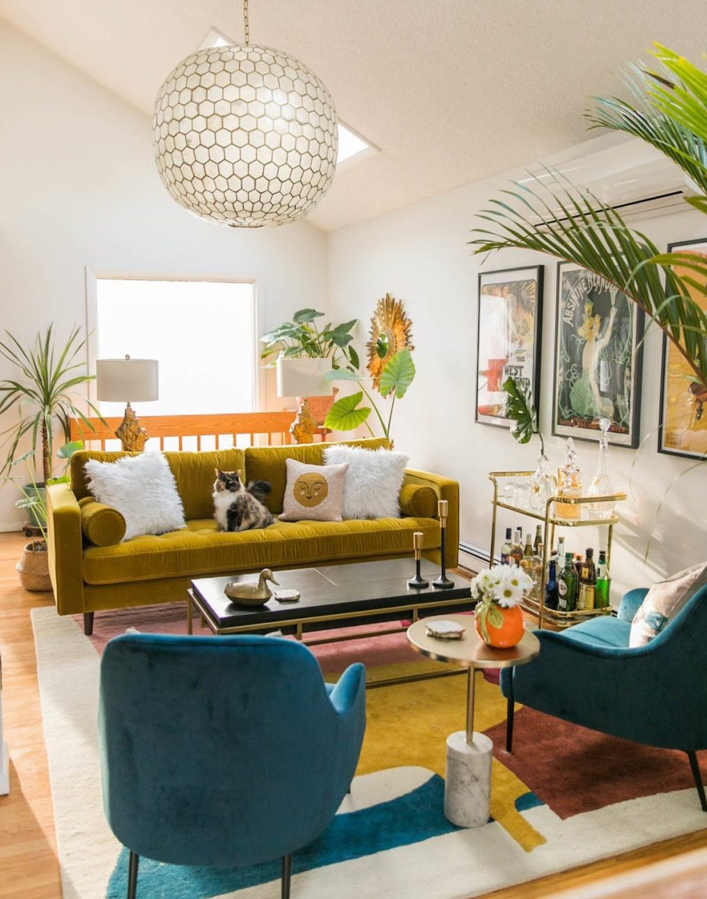 retro-style brightly colored living space resembling 30s design