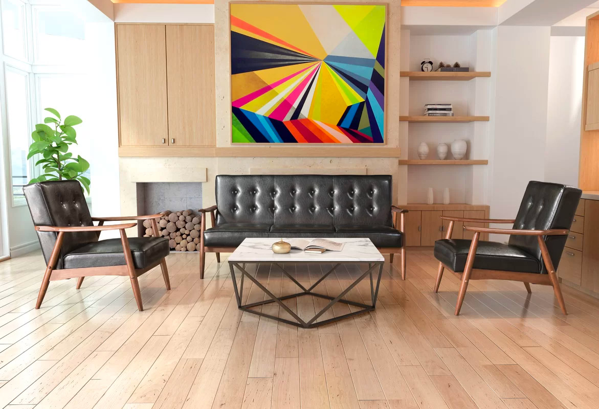modern style living room with geometric bright wall art