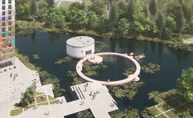 studio ossidiana combines three circles into floating art pavilion in almere, the netherlands