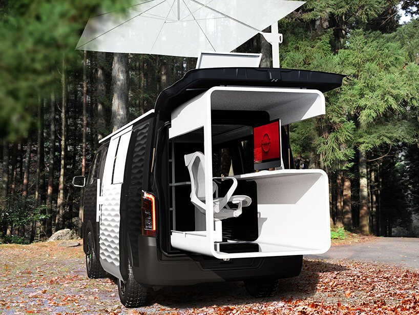 nissan envisions a work-from-anywhere caravan with a retractable office pod + rooftop deck