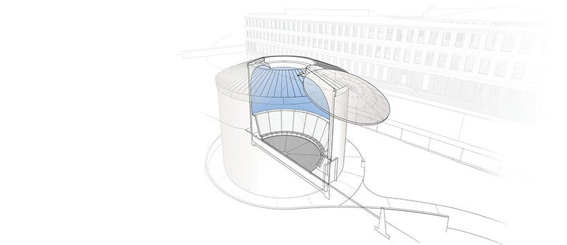 james turrell skyspace set to open inside MASS MoCA's concrete water tower