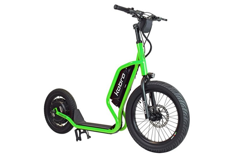 kobra, the italian electric scooter featuring a wide radius front wheel