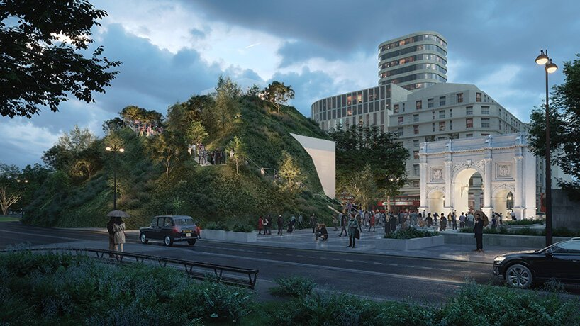 MVRDV plans 'marble arch hill' for the corner of london's hyde park