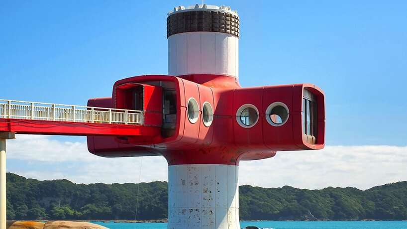 built in the 70s, japan's ashizuri tower features an underwater chamber for fish observation
