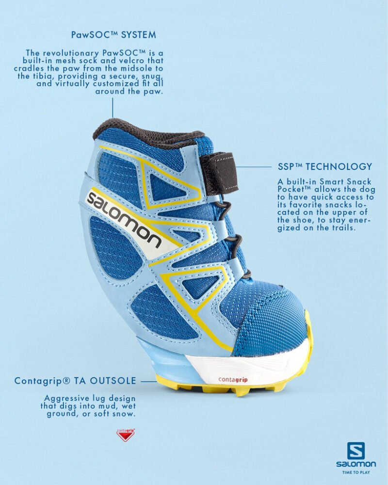 salomon unveils its first trail running shoe for dogs on april fool's designboom