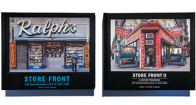 Covers of 'Store Front: The Disappearing Face of New York' (2009) and 'Store Front II: A History Preserved' (2015). Image © James & Karla Murray