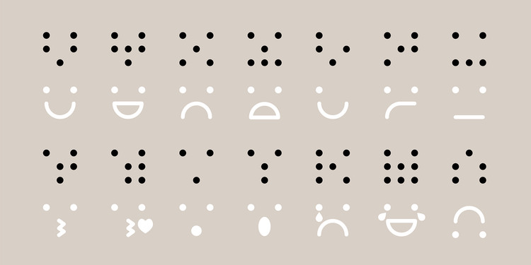 """Gold prize in universal design: """"Braille meets emoticons - a visual language for visually impaired"""" by Walda Verbaenen"""