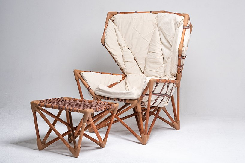danik uderbekov builds his own armchair with local recyclable materials