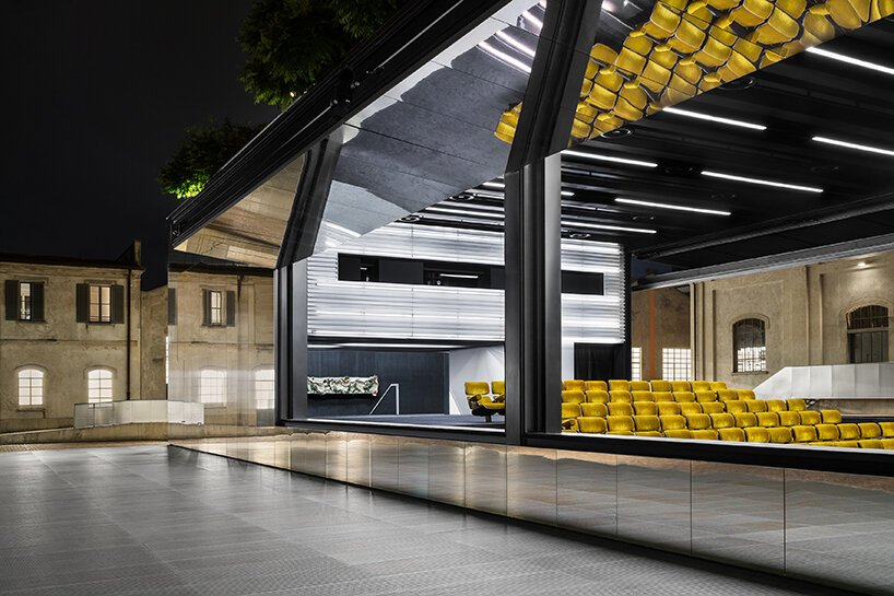 fondazione prada fully opens its outdoor cinema to screen its film series 'multiple canvases'