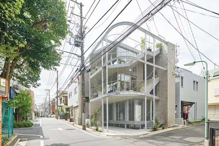 n o t architects studio's chain link 'weather house' is an extension of tokyo's parks