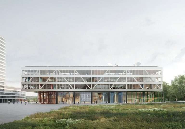 office KGDVS designs green and compact headquarters in brussels for broadcaster VRT