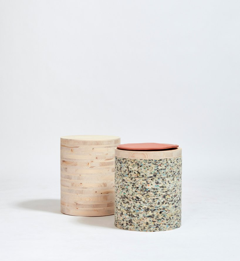 stacked layers of CLT wood + chip foam form this furniture collection