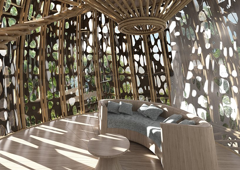 basket-inspired bamboo wellness resort hovers above chinese woodland