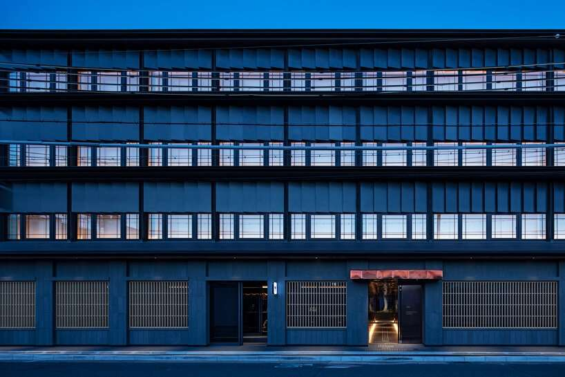 narrow copper box leads guests inside tranquil kyoto hotel by suppose design office