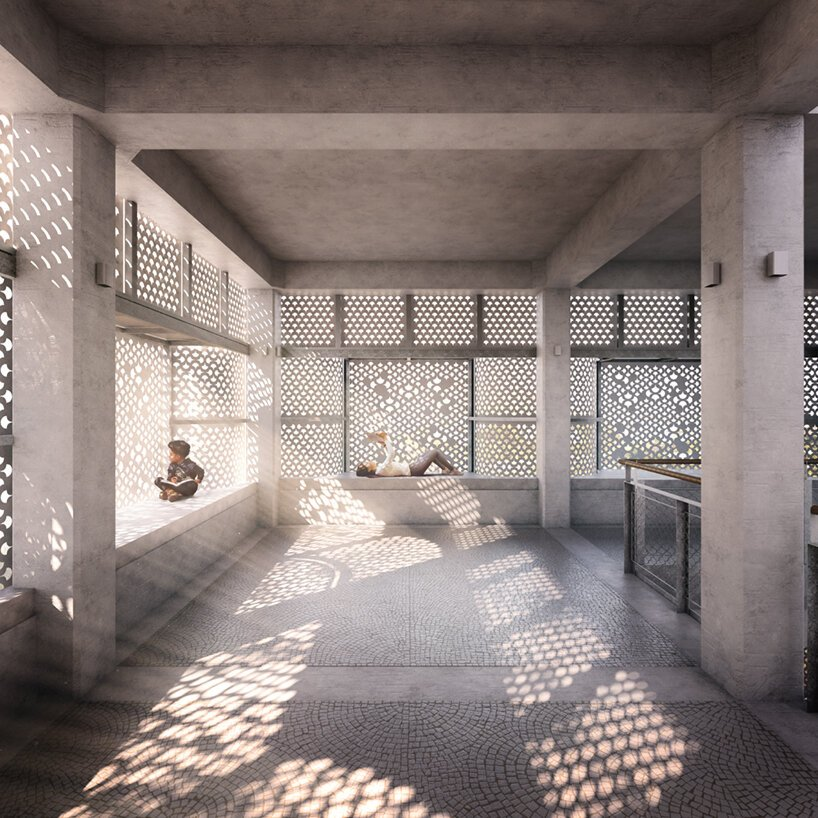 studio saar wraps its 'third space' in an intricate screen of water-jet cut white marble