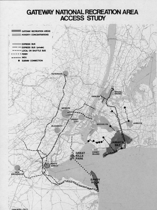 This 1972 study, prepared for the Gateway National Recreation Area, highlights public transit routes to and from marginalized neighborhoods in New York and New Jersey.. Image Courtesy of Minnesota Press