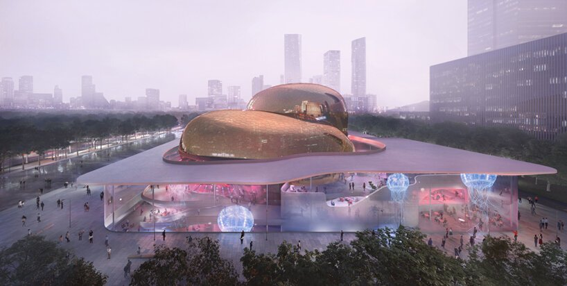 ennead architects' performing arts center will occupy two golden volumes in shenzhen